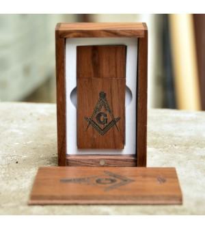 USB 16 g cutie lemn insemne masonice